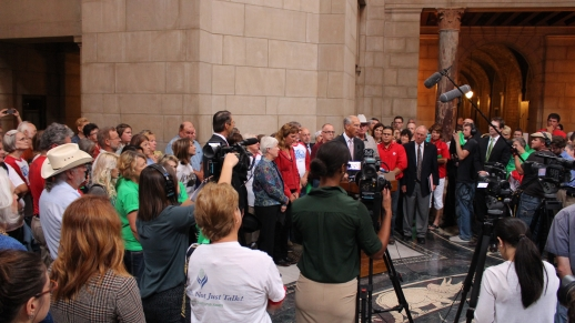 Landowner supporters and media after Oral Arguments with Plaintiffs and Dave Domina